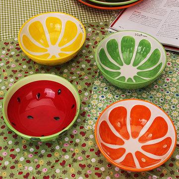 اليدوية السيراميك السلطانية رسمت باليد الفاكهة البطيخ الأرز حساء السلطانية السيراميك السلطانية