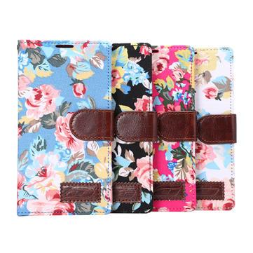 Çiçek Örtüsü Deri Cüzdan Kart yuvası TPU Flip-açık Kılıf için LG G4