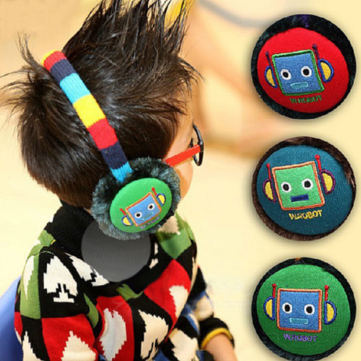 Children Baby Robot Ear Muffs Winter Outdoor Skiing Headwear
