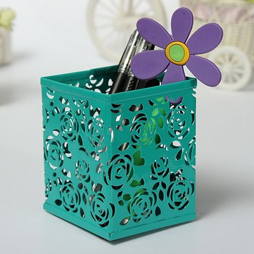 Rectangle Hollow Out Rose Metal Brush Pot Pen Container 4 Colors