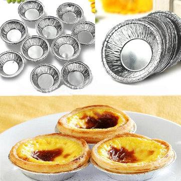 125Pcs Tek Kullanımlık Yuvarlak Gümüş Folyo Pişirme Şekerleme Kupaları Kek Tart Kalıp