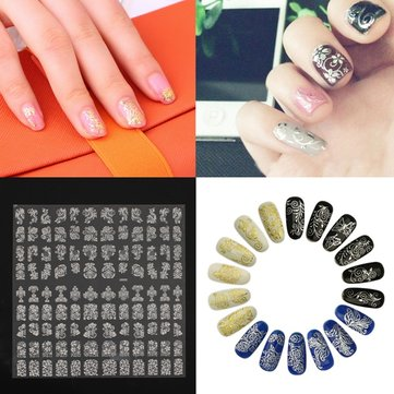 108Pcs Silver Flower Lace Designed Nail Art Sticker Decal Decoration