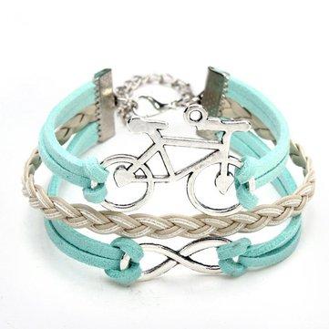 árbol de la bicicleta 8 pulsera símbolo pulsera de múltiples capas de cuero azul