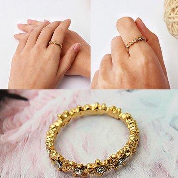 Vintage dorati fiori di strass dito gioielli delle donne anello