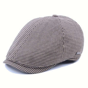 Mens Women Cotton Grid Beret Caps Outdoor Adjustable Paper Boy Newsboy Cabbie Gentleman Cap