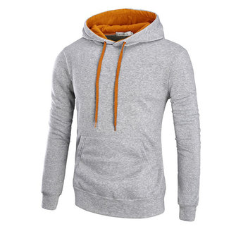 Mens Outdoor Solid Color Thick Warm Long Sleeve Cotton Sport Hoodies