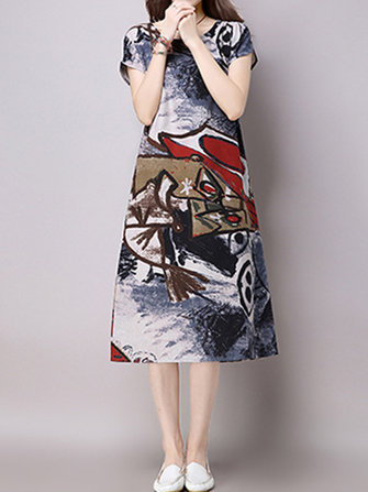 Women Vintage Short Sleeve Printed Dresses O-Neck Midi Dress