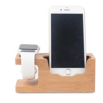 Bamboo Universal Desk Stand Charging Station Holder For Cellphone