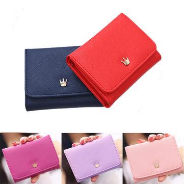 Women Lady Crown Short Mini Money Wallet Fold Bag Coin Purse Card Holder Wallets