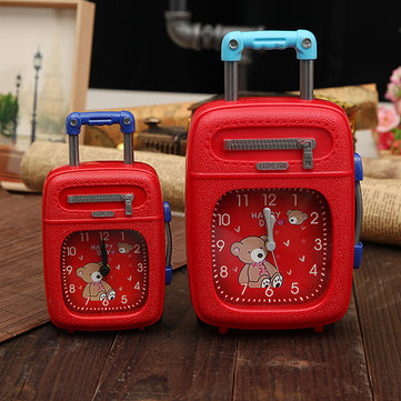 Suitcase Alarm Clock Trunk Luggage Plastic Trolley Case Alarm Clock Decor Gift Red Black Blue