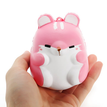 Squishy Pink Hamster 10cm Slow Rising Cute Animals Collection Gift Decor Soft Toy