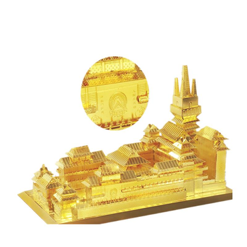 MU DIY 3D Metal Jing'an Temple Puzzle Model Toys Golden Color 165*97*98mm For Kids Children Gift 1143922