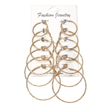 6 Pairs Fashion Hoop Earrings Set Gold Silver Stud Earrings Women Jewelry