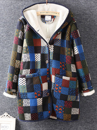 Plaid Printed Hooded Winter Coats