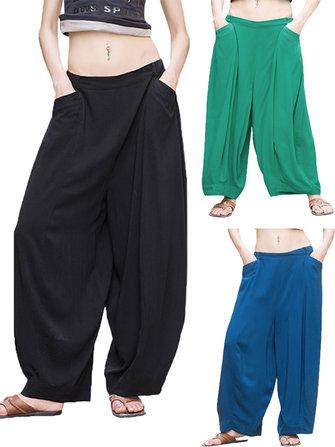O-NEWE Loose Women High Waist Pocket Harem Pants