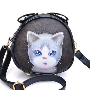 Couro mulheres pu banda desenhada 3d gato bonito saco crossbody saco de ombro
