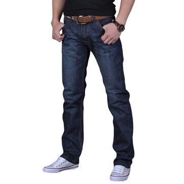 Mens Slim Fit Dark Blue Jeans Straight Leg Trousers Spring Autumn Denim Pants