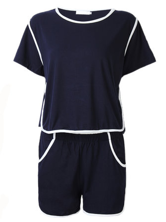 Navy Blue Casual Sport Stripe Stitching Off Shoulder Women Two Piece Set