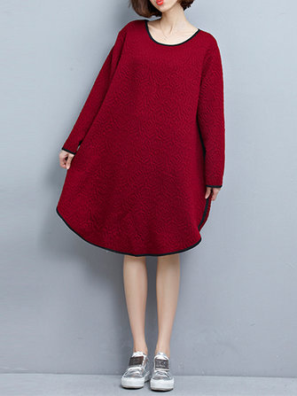 Winter Vintage Solid Long Sleeve Loose Women Thick Cotton Dress