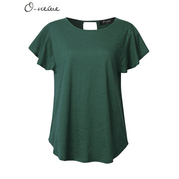O-NEWE L-5XL Casual Women Lotus Sleeve Back Hollow Solid T-shirt