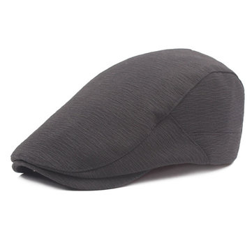 Buy Men Cotton Solid Color Washed Beret Hat Buckle Adjustable Paper Boy Cabbie Golf Gentleman Cap