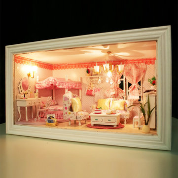 Hoomeda 13818 Pink Dream DIY Dollhouse With Music Light Cover Doll House Miniature Gift Decor Toy