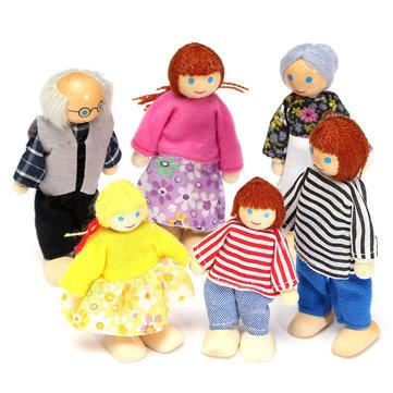 6PCS Madera Familia Miembros Muñecas Set Niños Niños Toy Dollhouse Figuras Personajes vestidos