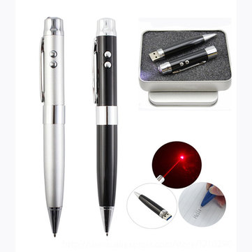 5 In 1 USB Pen Drive True Capacity 4GB 8GB 16GB 32GB Laser Pointer 2.0 USB Flash Drive Stainless Steel Ballpoint Pen