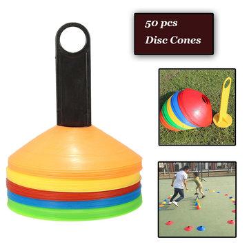 Conos del disco 50 PC + sostenedor / portador libres para el entrenamiento que entrena a fútbol