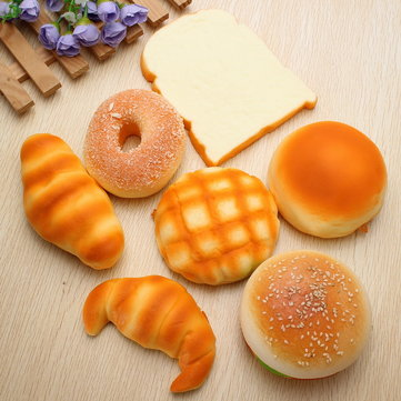 7PCS Squishy Soft Donut / Bun / Croissant desayuno conjunto aleatorio enviado