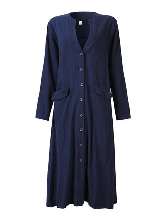 Women Vintage Single-breasted Loose Cotton Cardigan Long Dress
