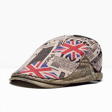 Buy Mens Vintage British Style Beret Cap Cotton Printing Casual Forward Hat Adjustable