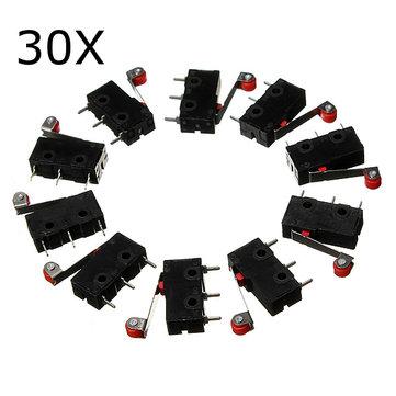 30Pcs KW12-3 Mikro Limit Anahtarı Silindir Lever 5A 125V Açma / Kapatma Anahtarı