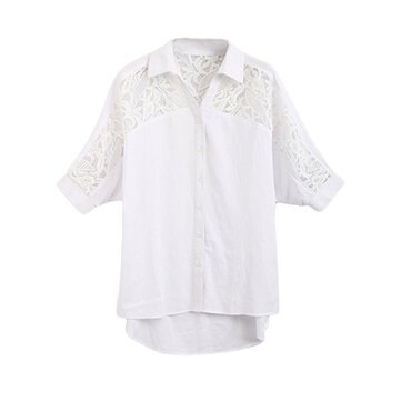 Elegant Lace Crochet Patchwork Hollow Out Vrouwen Linnen Blouse