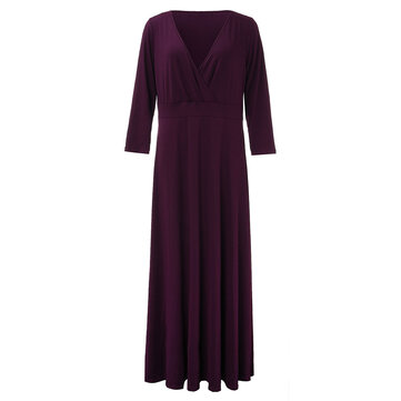 Sexy Women Solid Pleated Maxi Party Dress