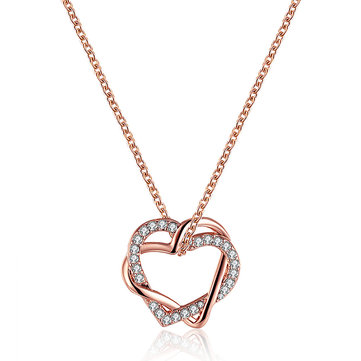 JASSY® Elegant Double Heart Crystal Rhinestone Pendant Necklace Anallergic Women Accessories