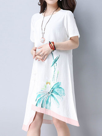 Women Vintage Print Short Sleeve Dresses O-Neck Irregular Hem Midi Dress