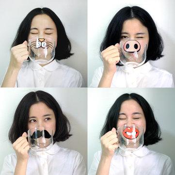 Alta temperatura de xícara de vidro de caricatura feita à mão caneca de vidro de modelo de nariz de porco de gato de caneca de água transparente resistente