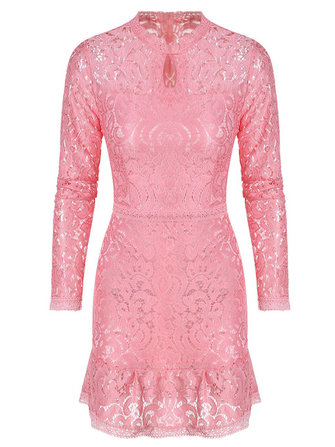 Sexy Women Lace Floral Hollow Chest Flouncing Hem Bodycon Dress