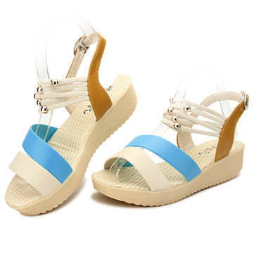 Women Summer Beach Peep Toe Wedge Sandals Breathable Strap Platform Sandals