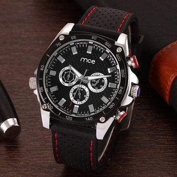 MCE 60193 Automatic Mechanical Multifuction 24 Hours Calendar Black Silicone Band Men Watch
