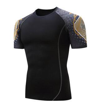 여름 캐주얼 남성 체육관 피트니스 트레이닝 스타킹 스포츠 티셔츠 빠른 건조 탄성 오목 티셔츠
