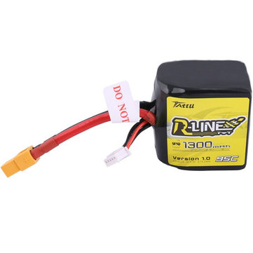Tattu R-Line V1.0 4S 14.8V 1300mAh 95C 4S1P Square Lipo Battery w/ XT60 Plug for RC FPV Racing Drone