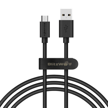 BlitzWolf® BW-CB7 2.4A 3.33ft/1m Micro USB Charging Data Cable With Magic Tape Strap