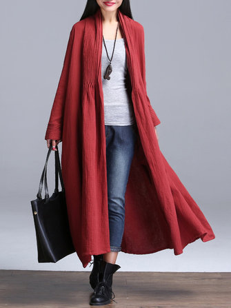 Plus Size Vintage Women Solid Ruffles Long Sleeve Long Coat Cardigan