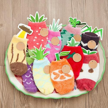 Bambini calzini di cashmere della frutta del fumetto di corallo unisex ispessimento calzini del pavimento antiscivolo lana calda