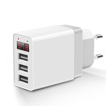Bakeey 2.4A LED Display 3 Ports EU Plug Fast Travel Wall Charger For iPhone X 8 Plus S8 Xiaomi 6
