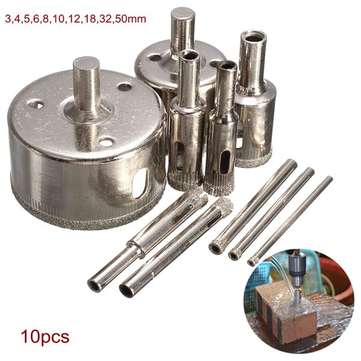 Drillpro DB-HS2 10st 3-50mm Diamond boor Hole Saw Set for Glass Ceramic Marble Tile