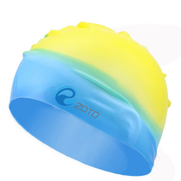 Durable Waterproof Silicone Swimming Pool Cap Swim Hat Unisex Adult Kids Children