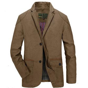 Hombres Mezcla de Algodón Casual Botones Jacket Chaqueta de Traje de Primavera Otoño